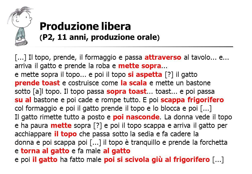 Produzione libera (P2, 11 anni, produzione orale) [...] Il topo, prende, il formaggio e passa attraverso al tavolo... e...